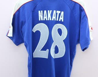 605b0650e86 Vintage 1996 JFA Nakata Shirt Big Spell Out Japan Football Association  Sportswear Street Wear Top Tee T-Shirt Size M