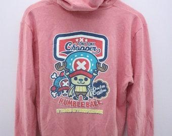 Vintage One Piece Pirate Hoodies Big Logo Tony Tony Chopper Rumble Ball Cartoon Anime Sweatshirt Size M