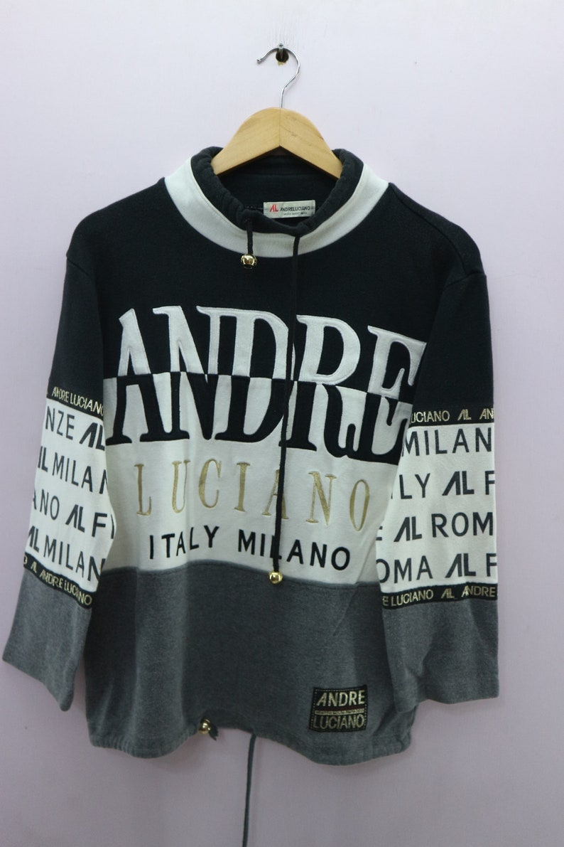 Streetwear Fashion Out Andre M Embroidered Vintage Urban Pullover Size Sweater Luciano Milano Sweatshirt Italy Big Spell n0wON8PkX