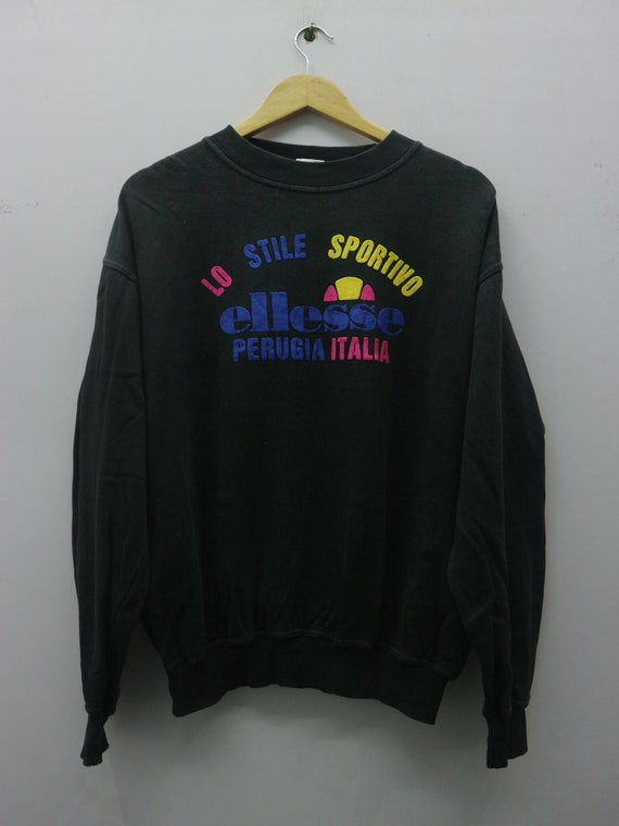 ELLESSE perugia italia big spellout logo pullover quarter zip long sleeve fashionstyle streetwear hypebeast hiphop Pick!