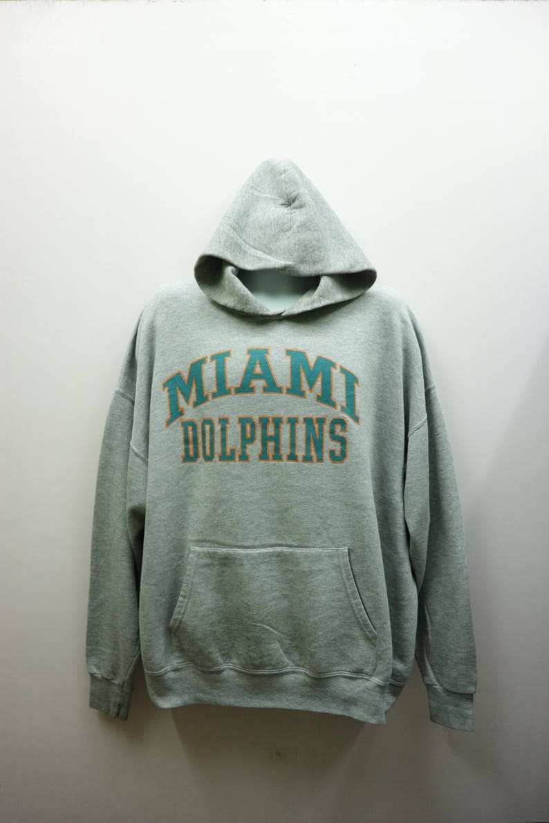 promo code 7117f 59f7c Vintage Dolphins Miami Hoodies Big Spell Out NFL Sportswear Street Wear  Pull Over Sweatshirt Size 2XL