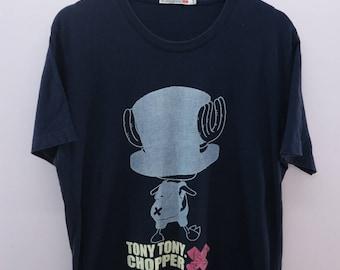 Vintage One Piece Pirate Tony Tony Chopper Shirt Big Logo Cartoon Anime Round Neck Top Tee T-Shirt Size XL