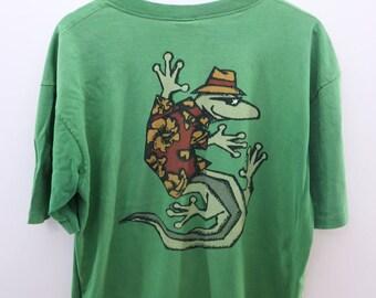 Vintage Gecko Crazy Shirt Hawaii Big Logo Hanauma bay Surf Wear Streetwear Round Neck top Tee Made In USA Size L