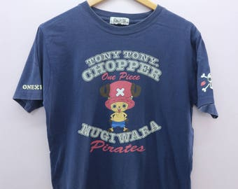 Vintage One Piece Pirate Tony Tony Chopper Shirt Big Logo Mugiwara Pirate Adventure Cartoon Anime Round Neck Top Tee T-shirt Size LL