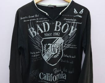 Vintage Bad Boy Long Sleeve Big Logo Streetwear Round Neck Pullover Funky Shirt Size M