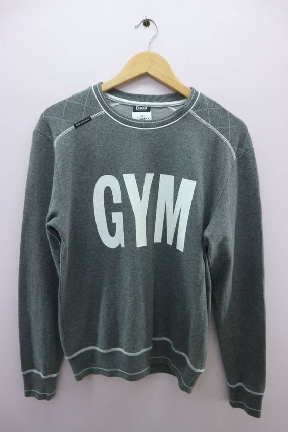 Vintage D&G Dolce and Gabbana Designer Sweatshirt Big Spell Out GYM Urban Fashion Street Wear Round Neck Pullover Sweater Size M