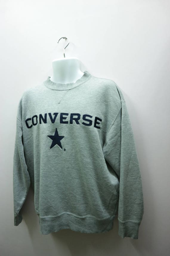vintage Converse Sweatshirt Brodé Big Logo Round Neck Pull Over Hip Hop Streetwear Sweater Size L