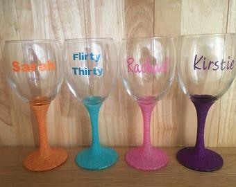 Personalised Glittered Wine Glass