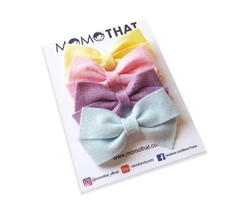 baby hairclips baby headband wool headband Pastel felt bow collection wool felt