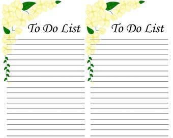 Yellow Flower To Do List Half Sheet