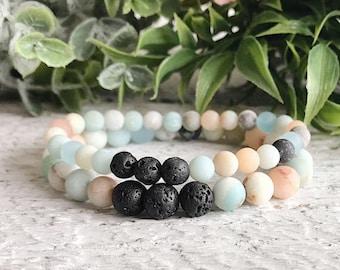 Amazonite gemstone bead bracelet, lava rock essential oil diffuser beaded bracelet, boho jewelry