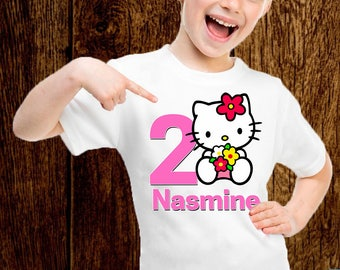 Hello Kitty Birthday Girl Shirt Customized Party Add Any Name And Age D055