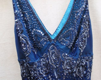 d4a74c8be93 Adrianna Papell Blue Sheer Silk - Turquoise Polyester Lined Beaded Sequin  Gown