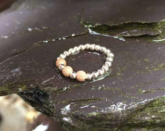 Sterling Silver and rose gold stretch bead toe ring stardust sparkle beads comfy UK