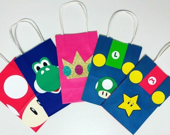 Mario inspired favor bags, Mario party supplies