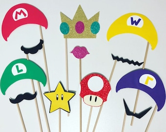 Mario inspired photo booth props