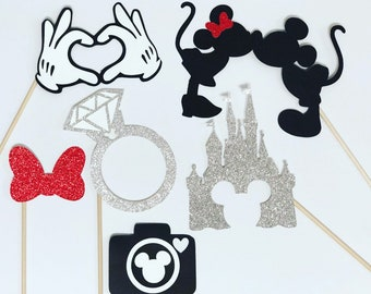 Disney inspired wedding photo booth props, fairytale wedding photo booth props, 6 piece set