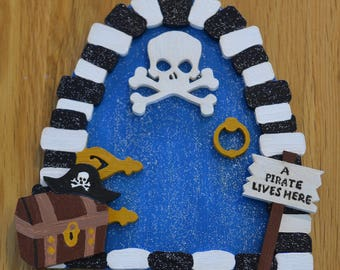 Wooden handpainted pirate fairy door