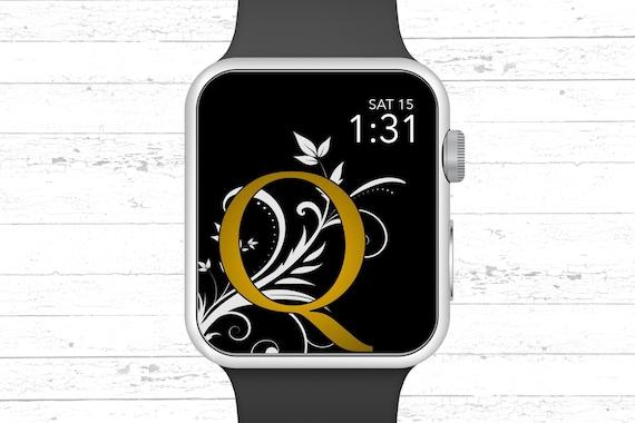 Apple Watch Wallpaper Monogram Q Apple Watch Face Design Etsy