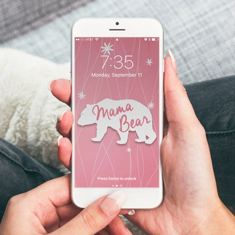Mama Bear Vintage Floral Background Iphone Wallpaper Cell Etsy