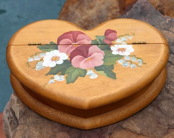 Wooden Hinged Jewelry Box - Floral Keepsake Heart Box - Handpainted Trinket Box - Pansy Flower Garden Decor Gift - Live in Moment Vintage