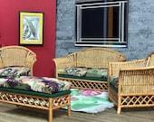 1 12 Dollhouse Victorian cane rattan living room set wine gold green
