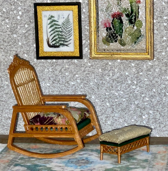 1:12 Dollhouse cane rattan rocking chair and foot-stool tropical green