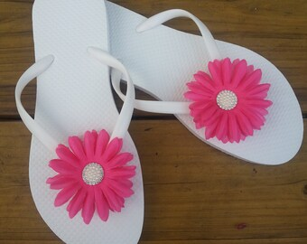 c5c1af616 White flip flops decorated with Pink flowers and Crystal Clear Rhinestone  Pearl buttons.