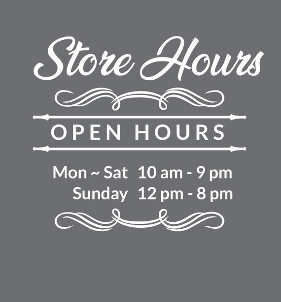 Sticker Business Hours Window Decal Custom Store Choose Size /& Color Sign