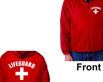 c13f1b372a5 lifeguard Red Jacket Windbreaker Fleece Lined Life Guard YMCA Pool Staff