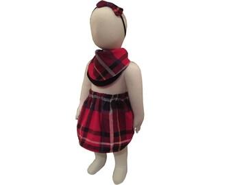 Red Tartan Skirt, Elastic Waist, Lined Skirt,Soft brushed cotton, Available Bib and Headband.