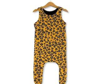 Monkey and Leopard Print BLACK DUNGAREES Fair Trade Cotton Twill Medium Weight