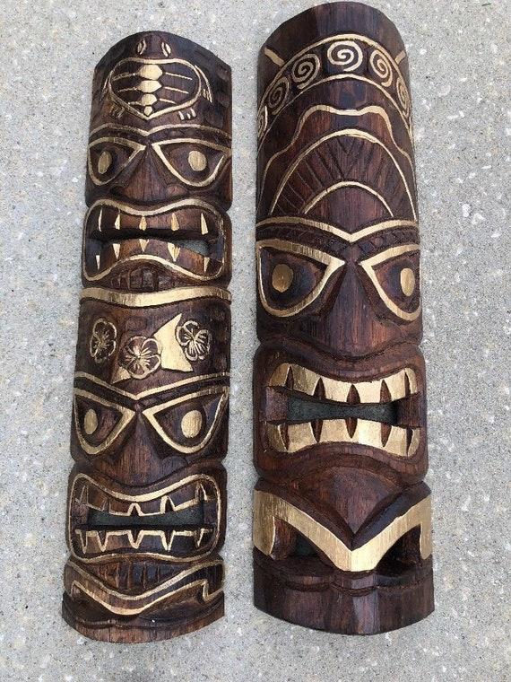 Set of 2 20 Tiki Mask Hawaiian Wall Art Island Home   Etsy