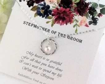 Stepmom personalized wedding gift second mom Stepmother wedding handkerchief from the Groom SM1-N stepmom gift printed