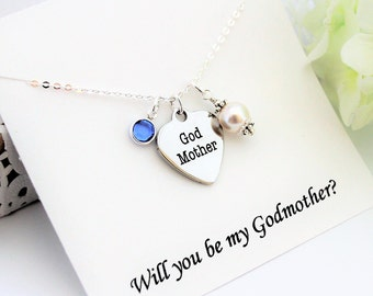 Will you Be My Godmother Necklace GODMOTHER Proposal, GIFT For GODMOTHER Godmother Ask Godmother Gift, Asking Godmother, Godmother Necklace