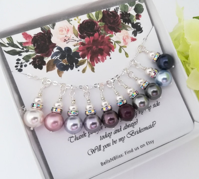 Asking Bridesmaid Gift PEARL NECKLACE BRIDESMAID Jewelry Bridesmaid Necklace Ask Bridesmaid Proposal Will you be my Bridesmaid Necklace