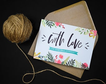 With Love Card // Anniversary Card // Colourful Floral Design