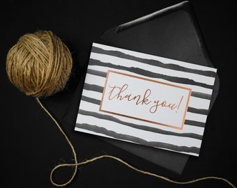 Thank You Card // Toyger Black and White Stripes // Gold & Rose Gold Foiled Card