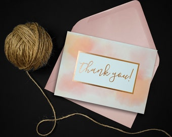 Thank You Card // Blush Pink Card // Foiled Rose Gold Card