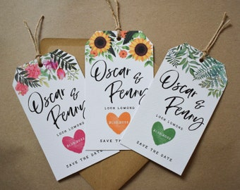 Save the Date Tag // Rustic Save the Date Tag // Floral Gift Tag with Twine // Personalised Save the Date Card // Floral Gift Tag with Twine