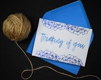 Thinking of You Card // Sympathy Card // Foiled Blue Hydrangea Card
