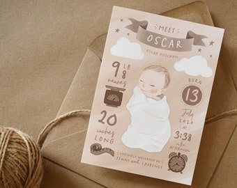 New Baby Arrival Cards • Welcome Baby Celebration Greeting Cards • Baby Girl • Baby Boy • Baby Announcement Personalised Birth Details