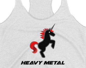 Heavy Metal Music Rock N Roll Unicorn T Shirt Tank Top. Womens Racerback Rock And Roll Music Tank Top
