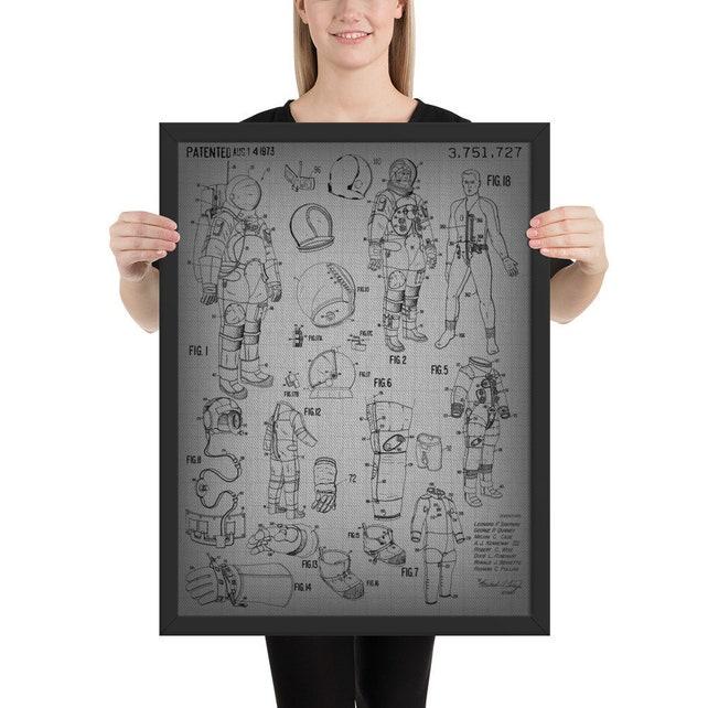 Vintage Nasa Blueprint Space Suit Patent Astronaut Poster Sci Etsy