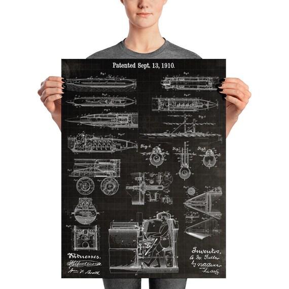 vintage submarine blueprint steampunk wall art steampunk etsy rh etsy com