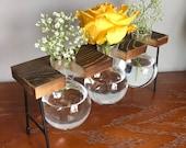 3 Vase Wood Propagation Station / 3 flower vase / Self standing propagation Station / New Plants / Plant lover gifts / Plant Mom Gift