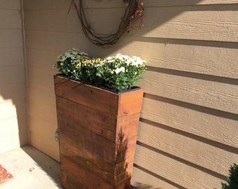 """36"""" Tall 8.5 """" Skinny Entry Way Cedar Wood Planter - Mocha --- Patio Planter / Entry Way Planter / Narrow Planter / Rustic Planter"""