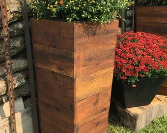 "36"" Tall Cedar Wood Planter - Mocha ---- Patio Planter / Rustic Planter / Tapered Planter / Spring Planter / Spring / planter box"