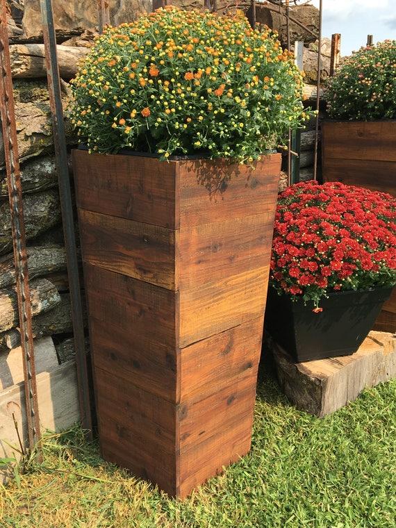 36 Tall Cedar Wood Planter Mocha Patio Planter Etsy
