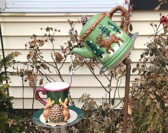 Moose in the garden! Bird feeder